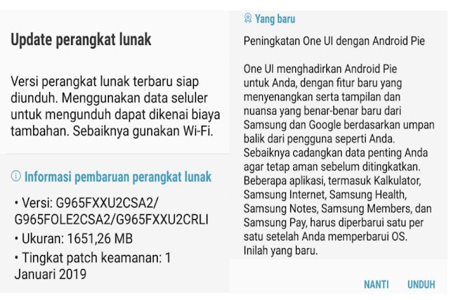 Update Android 9 pie pada samsung galaxy S 9 Plus