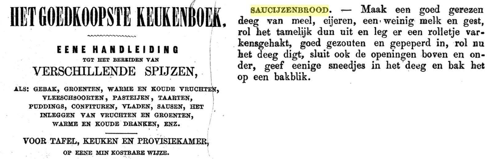 recept saucijzenbrood 1856 19e eeuw herkomst