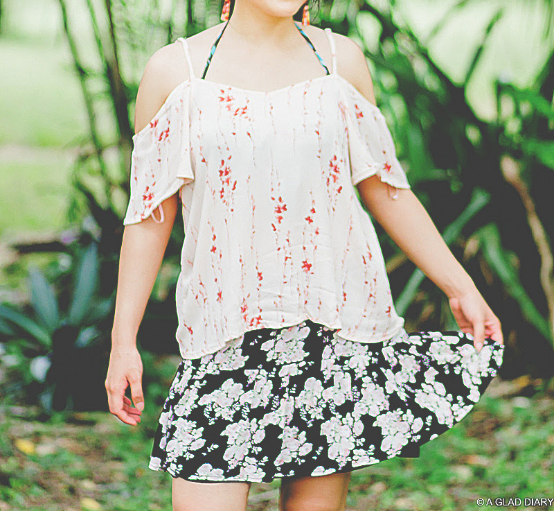 petite fashion: cold shoulder top, floral mini skirt