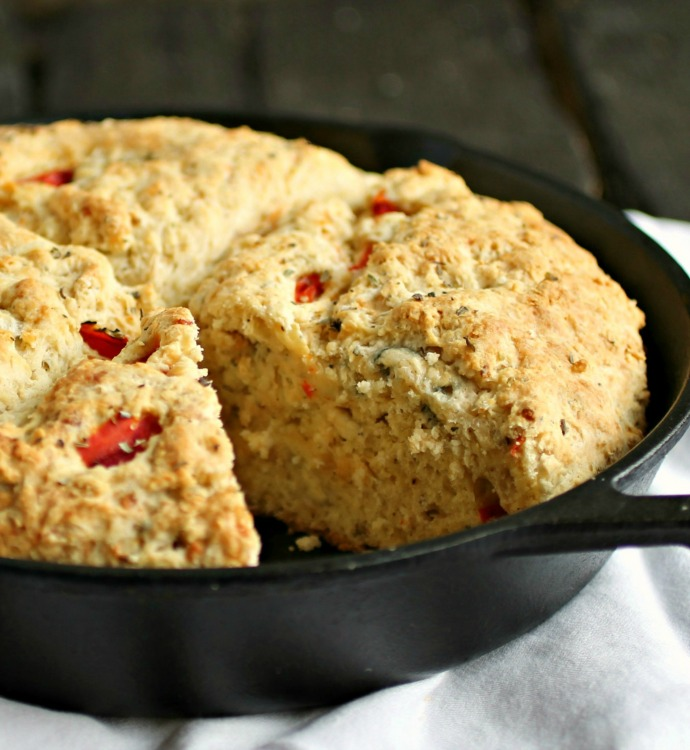 Cheesy Roasted Red Pepper Skillet Soda Bread