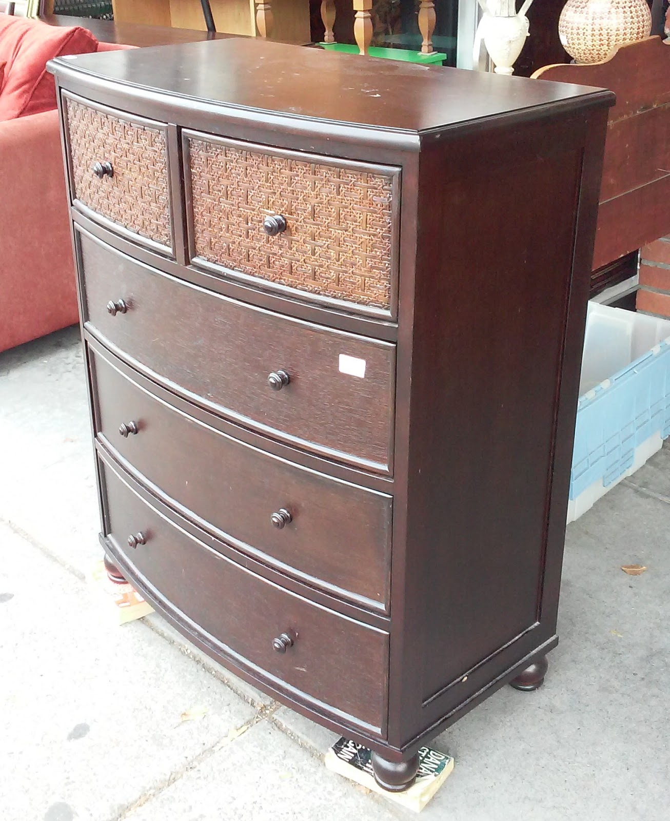 SOLD #9380 Modern Asian Caned 5 - Drawer Chest - $175