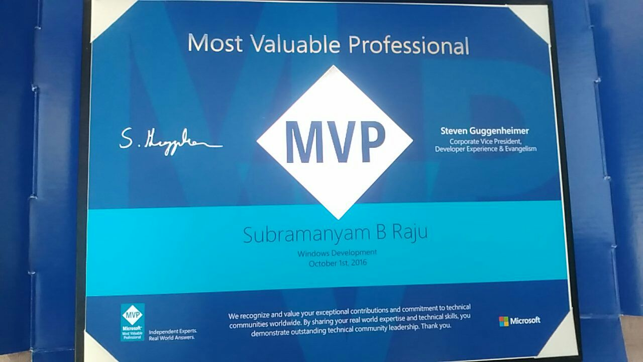 Awarded As Microsoft Mvp For The Second Time October 2016
