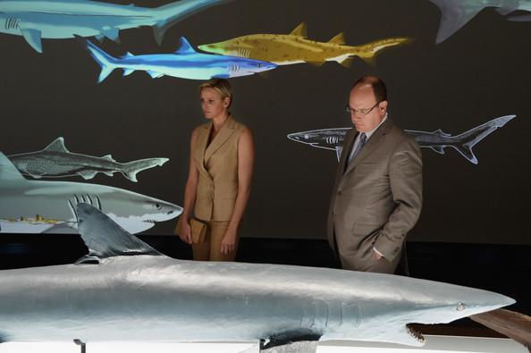 Princess Charlene of Monaco and Prince Albert II of Monaco visited a shark exhibition