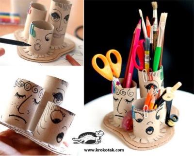 Tempat pensil dan alat tulis dan kertas bekas tissue roll