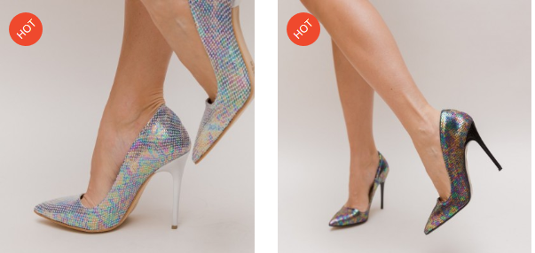 Pantofi eleganti Negri, Argintii cu imprimeuri moderni ieftini de ocazii