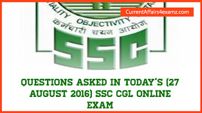 SSC CGL Exam 27 August 2016
