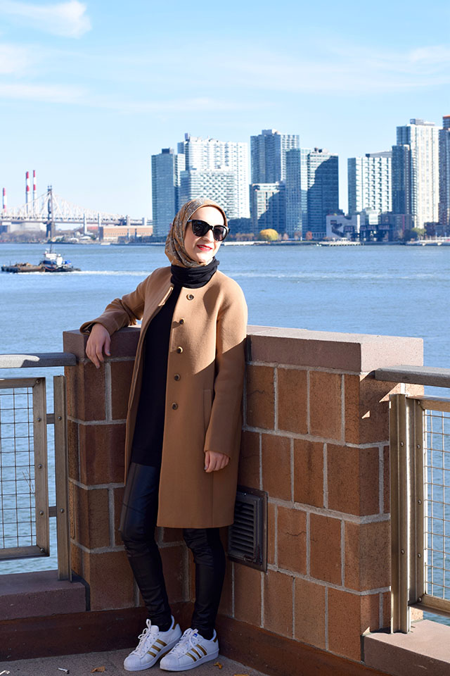 Winter Fashion - Weekend Style - Adidas Superstar - Camel Coat - Vegan Leather Leggings - Fashion Blogger - NYC - Modest Fashion - Hijabi