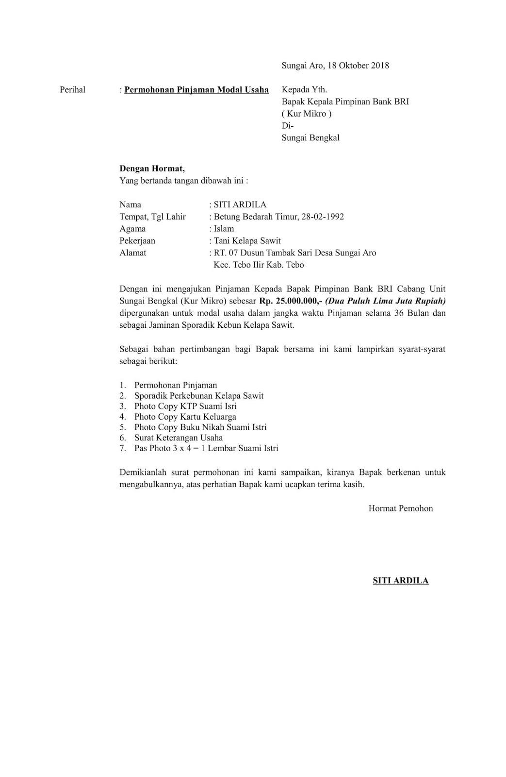 Contoh Surat Permohonan Pinjaman Modal Usaha atau Dana KUR ...