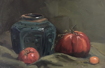 """My mother's tomatoes"", oil painting on panel 20x30 cm by Philine van der Vegte"
