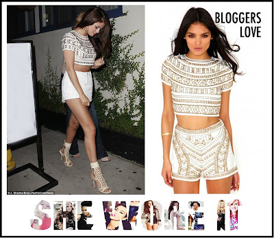 Beaded, Cream, Crop Top, Cropped, Embellished, Metallic, Missguided, Selena Gomez, Stud Detail, Tribal Pattern