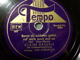 Record label for Clara (Claire) Bauerle)