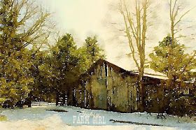old barn with snow