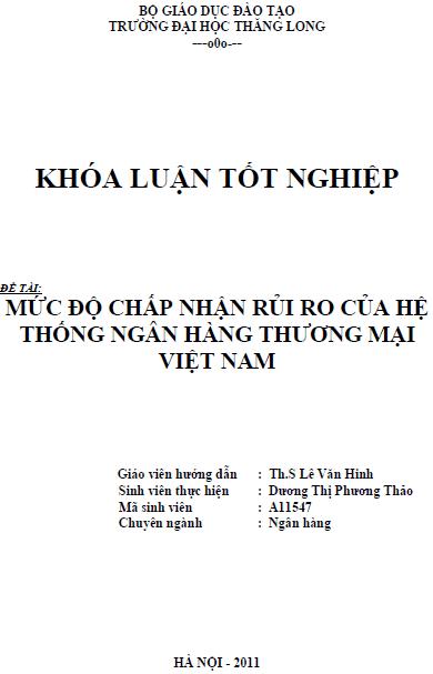 Mức độ chấp nhận rủi ro của hệ thống Ngân hàng Thương mại Việt Nam