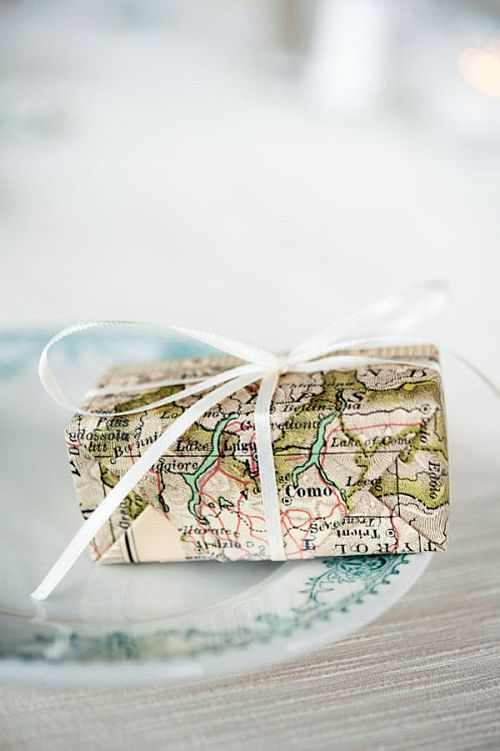 lovely old map eco-friendly gift wrapping