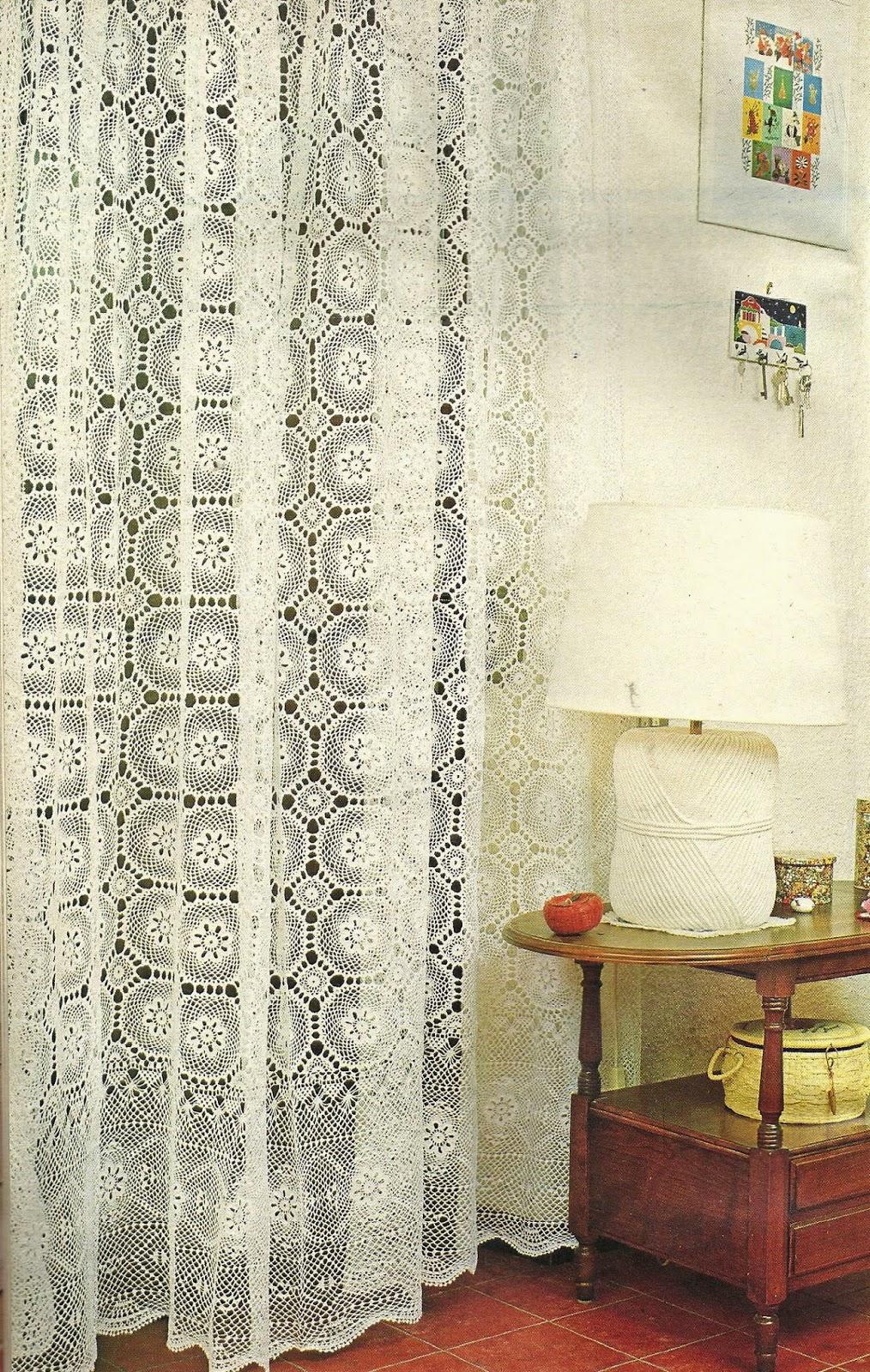 tejidos artesanales en crochet cortina con motivos de cenefa