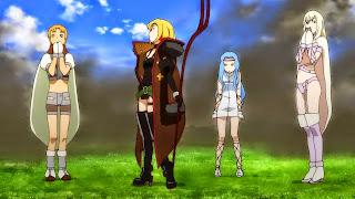 Bohaterowie anime Junketsu no Maria na polu bitwy. Od lewej Priapos, Maria, Ezekiel i Artemis.
