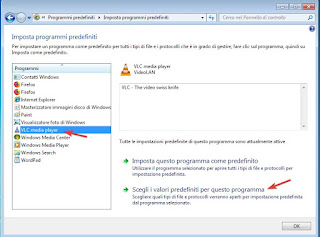 Scegli programmi predefiniti su Windows 7