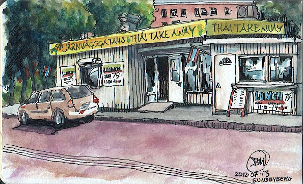 A watercolour sketch of a Thai Take-Away by David Meldrum