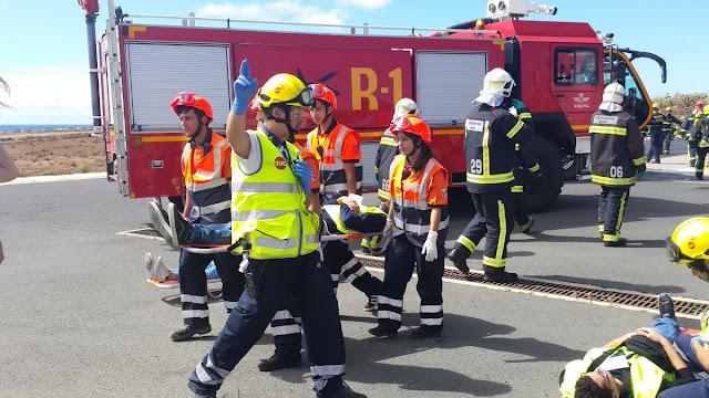 Incendio Aeropuerto Gran Canaria, de simulacro, 5 julio