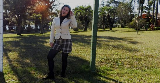 Look do dia - Xadrez e blazer