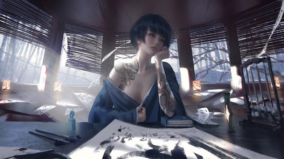 Fantasy, Asian, Girl, Tattoo, 4K, #4.29