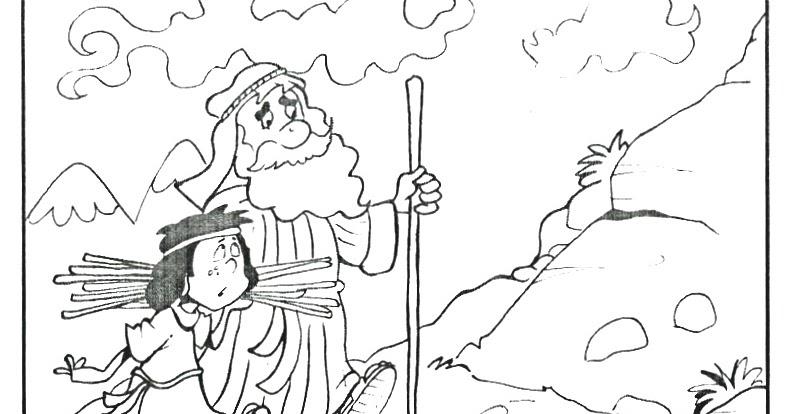 Abraham e Isaac suben al monte Moriah para colorear