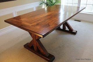 Custom Farmhouse Trestle Table with Bench and Chairs