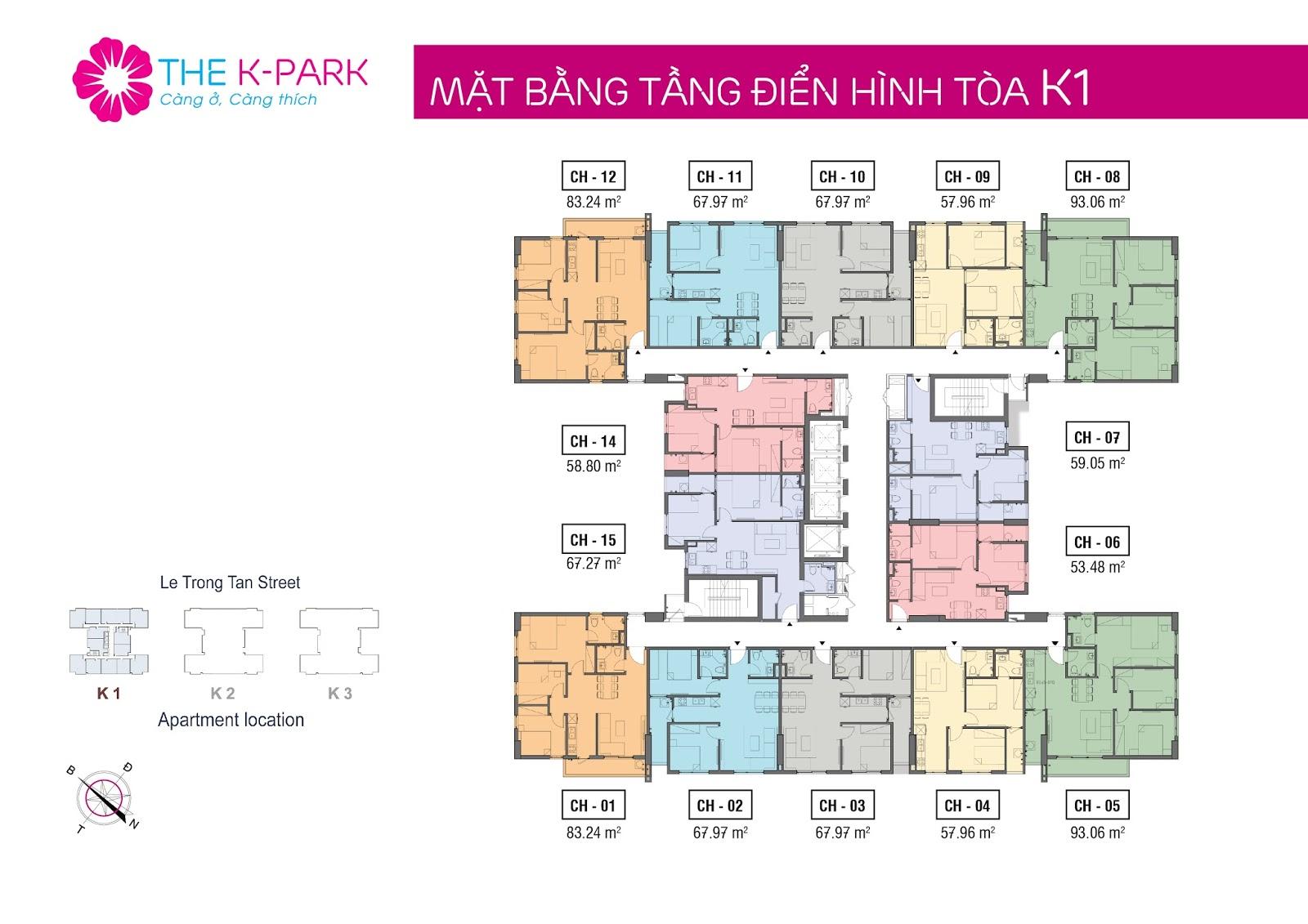 Mặt bằng tòa K1 dự án The K Park Văn Phú