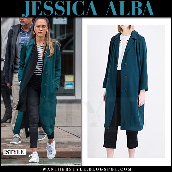 Jessica Alba in teal green sandro coat, striped top j brand harper and white sneakers what she wore april 2017