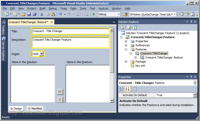 how to create and deploy a feature in sharepoint 2010