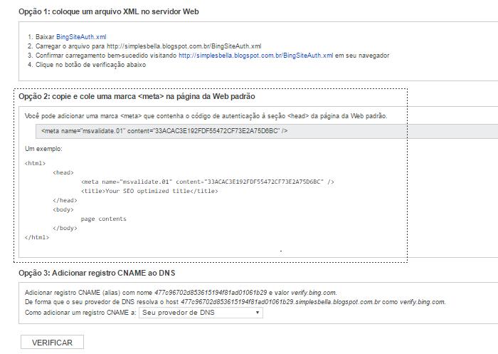 Como fazer verificação de propriedade no bing webmaster