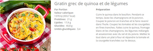 recette gratin grec de quinoa minceur