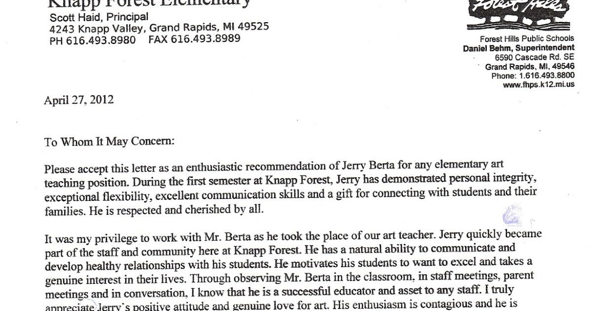 Personal Letter Of Recommendation Parent Template: Mr. Berta Art Teacher: Six Letters Of Recommendation