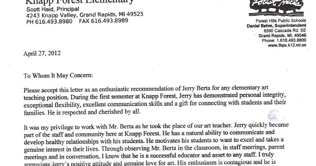 Sample Letter Of Recommendation For School Administrator: Mr. Berta Art Teacher: Six Letters Of Recommendation