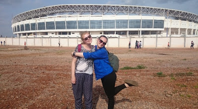 Alice and Helen outide Tamale sports stadium!