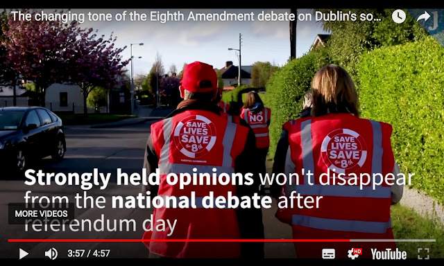A video frame capturing canvassers out in the coastal suburb of Dún Laoghaire