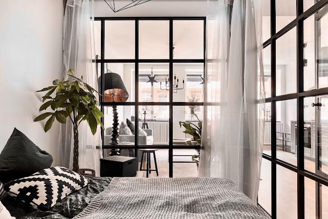 pereti de sticla in dormitor