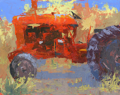 art painting tractor abstract red Farmall agriculture