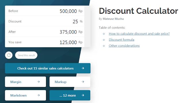 menghitung diskon dengan omni calculator
