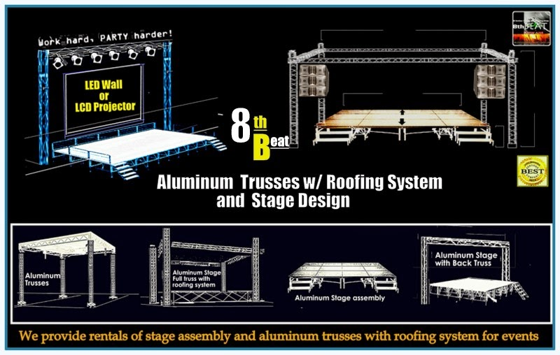Acrylic Stage Rental Manila, Aluminum Trusses with Roofing