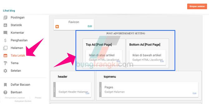 Trik Agar Bisa Edit Kode Iklan dibagian Postingan pada Menu Layout/Tata Letak