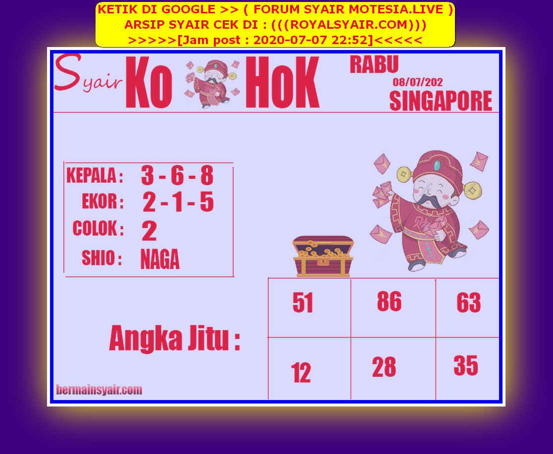 Kode syair Singapore Rabu 8 Juli 2020 207