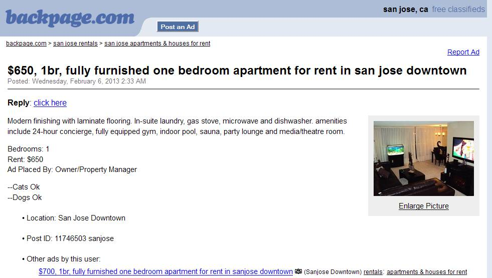 Sanjose Backpage Com Apartmentsforrent 700 1br Fully Furnished One Bedroom Apartment For Rent In Sanjose Downtown 12612297
