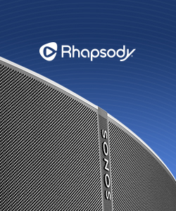 image of Sonos speaker and Rhapsody logo