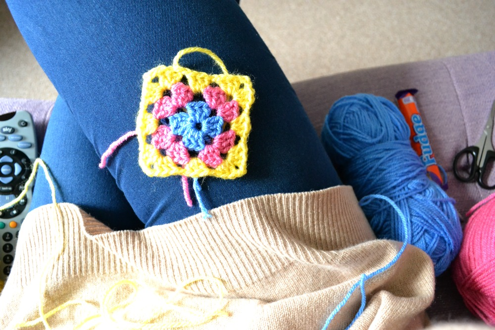 crochet granny square couch yarn