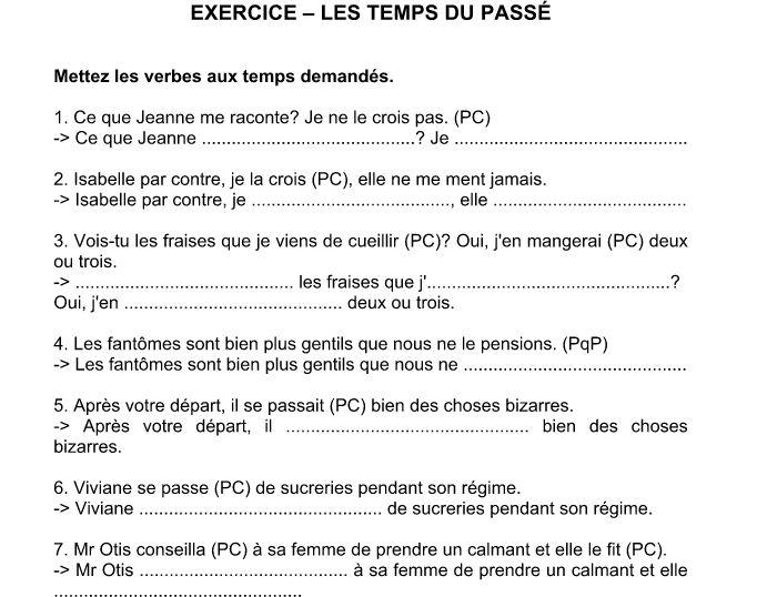 Cours Des Matieres Scientifiques Exercices Td Fiches Pratiques Exercice Corrige Passe Compose Et Plus Que Parfait