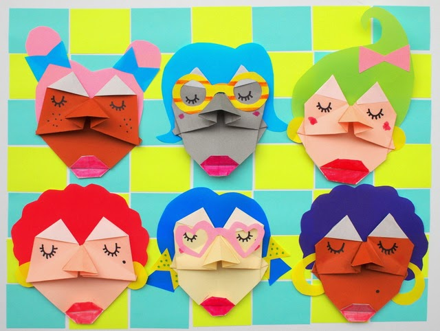 kids art/craft- fold origami faces- step-by-step tutorial