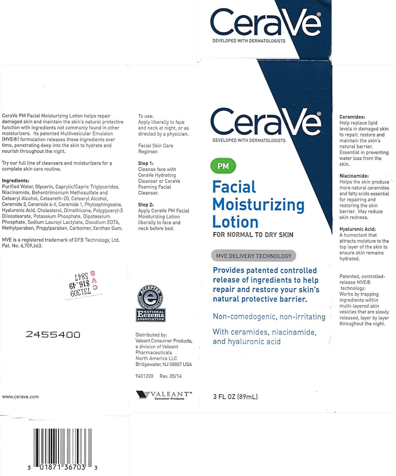 lavlilacs CeraVe PM Facial Moisturizing Lotion packaging - ingredients, descripion