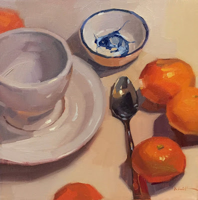 still life painting of oranges by sarah sedwick