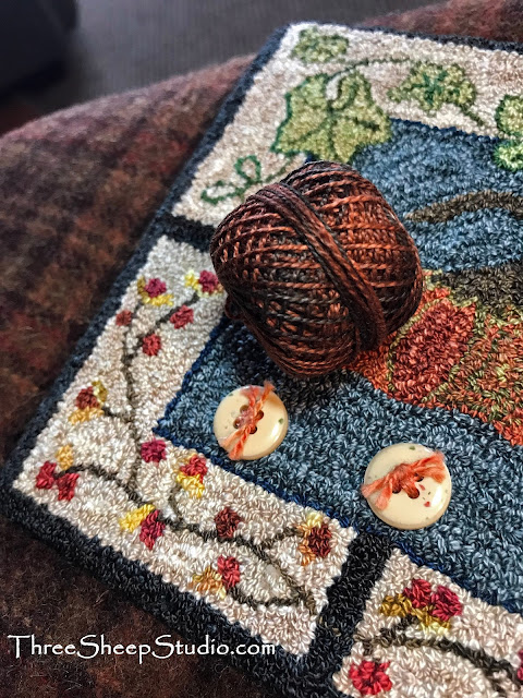'In The Patch' punch needle 'finish' by Rose Clay at ThreeSheepStudio.com  (Blog)